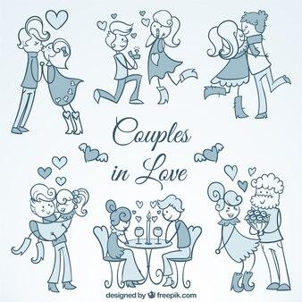 Esboços de belos casais apaixonados
