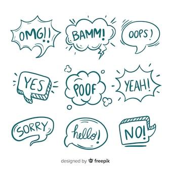 Esboços de bolhas com diferentes expressões