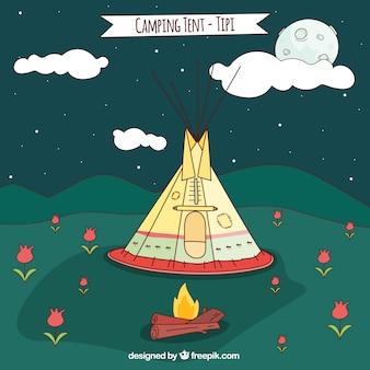 Esboços de campismo de tenda tipi à noite