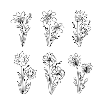 Esboços de coleção de flores de primavera mão desenhada