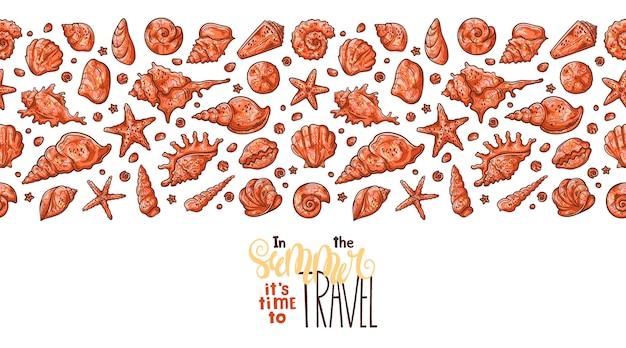 Esboços de conchas do vetor. lettering: no verão é hora de viajar.