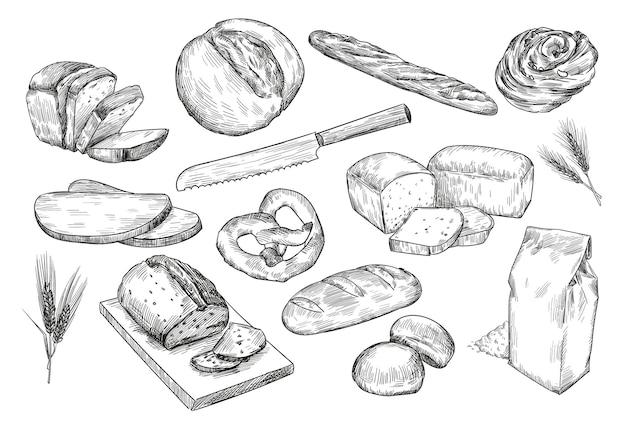 Esboços de diferentes pães desenhados à mão