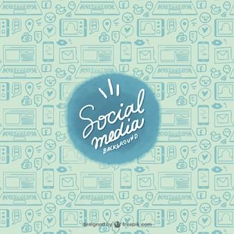 Esboços de dispositivos e redes sociais de fundo