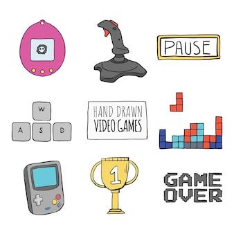 Esboços de elementos de jogos de vídeo