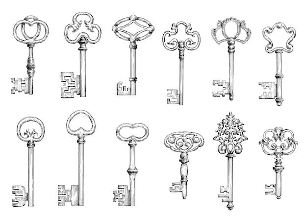 Esboços de gravuras vintage de chaves antigas com arcos forjados ornamentais, adornados por floreios vitorianos, arabescos e rodopios.