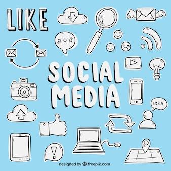 Esboços de ícones sociais dos media Vetor grátis