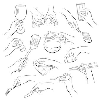 Esboços de mãos de cozinha
