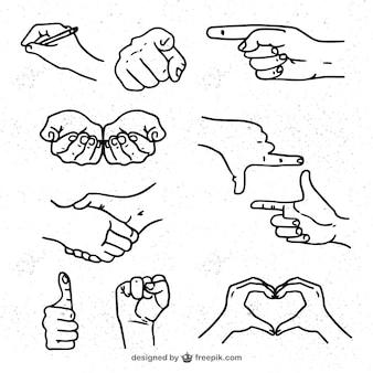 Esboços de mãos pacote