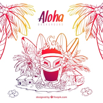 Esboços de máscara e elementos de elementos havaianos