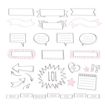 Esboços de modelo de diário com marcadores