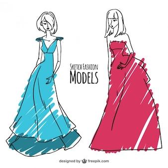 Esboços de modelos de moda pintados com marcadores