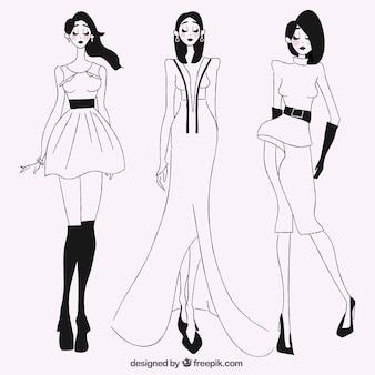 Esboços de modelos elegantes