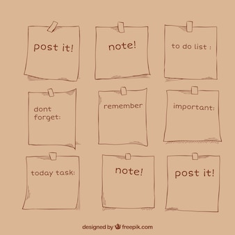 Esboços de notas embalar