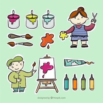 Esboços de pequenos artistas com ferramentas de pintura