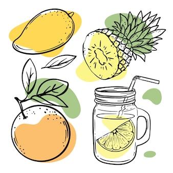 Esboços de várias frutas com ilustrações de salpicos em laranja pastel, amarelo e verde