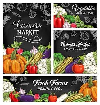 Esboços de vegetais frescos e alimentos vegetarianos em quadros-negros de mercados de produtores