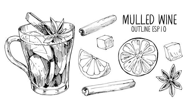 Esboços de vinho quente. ilustração desenhada à mão convertida em vetor