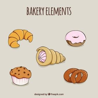 Esboços deliciosa sobremesa e croissant