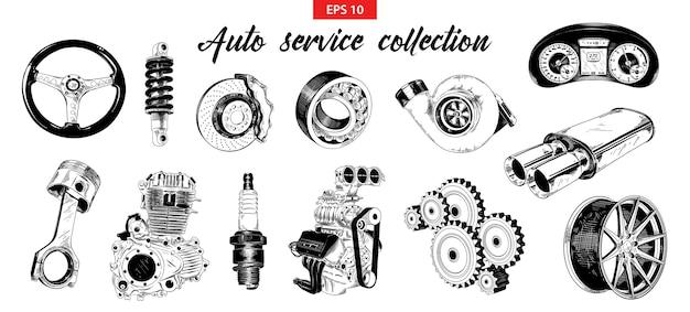Esboços desenhados à mão de elementos de serviço de carro auto