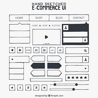 Esboços elementos de web de e-commerce