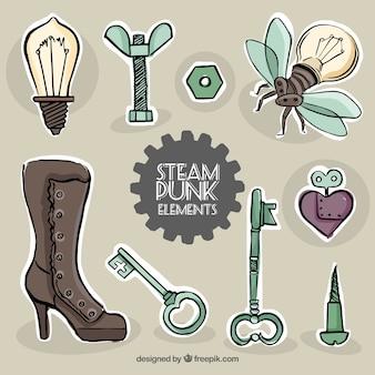 Esboços elementos etiquetas steampunk