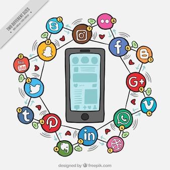 Esboços fundo móvel e ícones de redes sociais