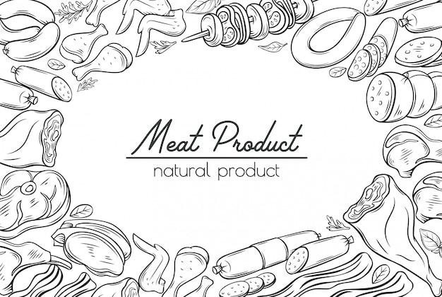 Esboços gastronômicos de produtos à base de carne