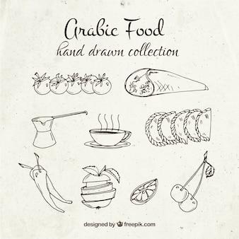 Esboços pratos de comida árabe
