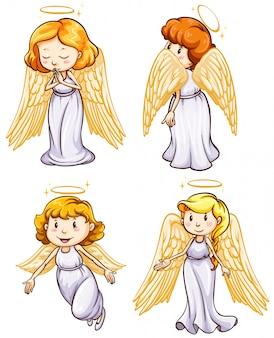 Esboços simples dos anjos