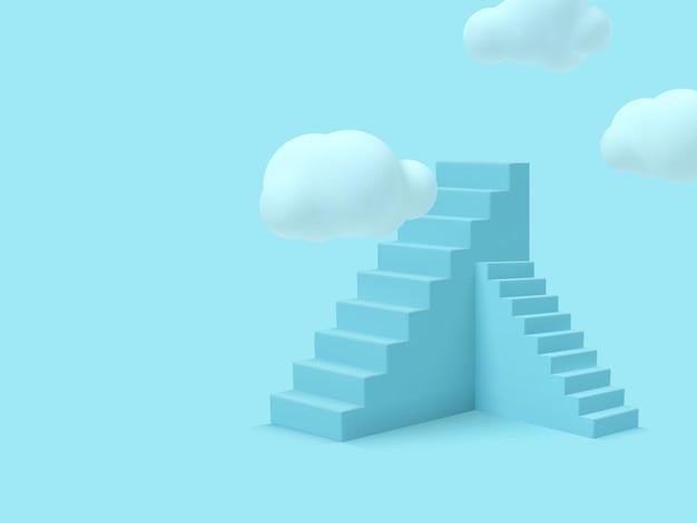 Escada azul com nuvens