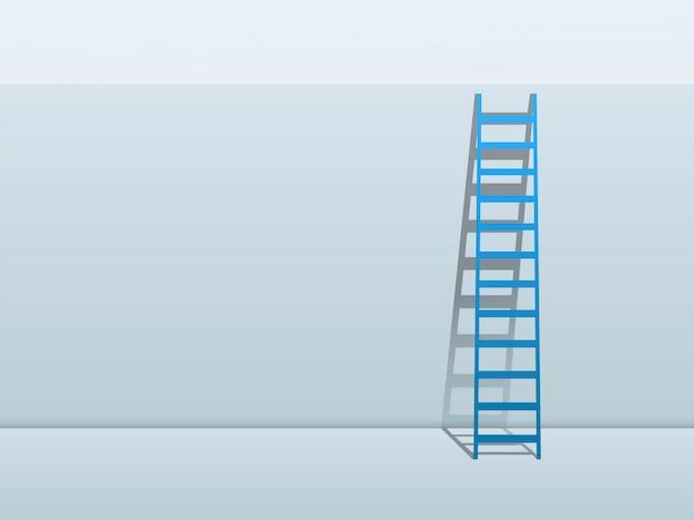 Escada azul, inclinando-se contra o fundo da parede