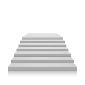 Escada cinzenta em um fundo branco. isolar. ilustração vetorial