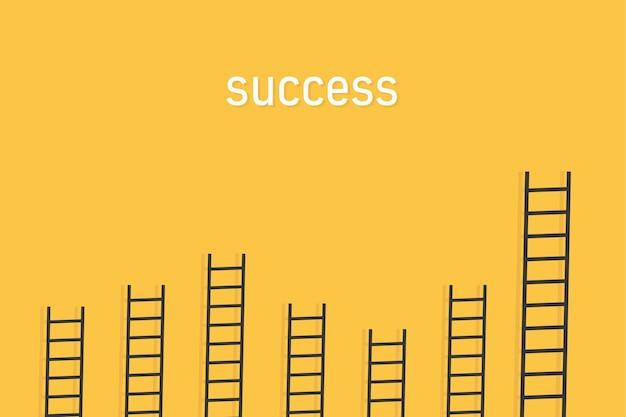 Escada com fundo amarelo dando o conceito de competição pelo sucesso nos negócios como uma imagem vetorial
