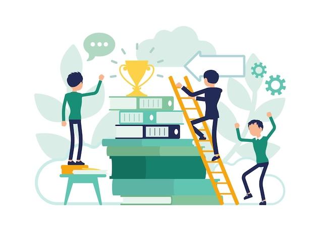 Escada da educação levando ao sucesso na vida futura