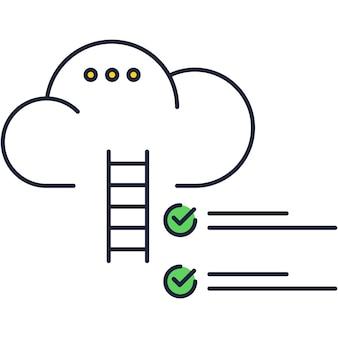 Escada de carreira de sonho de ícone de nuvem e vetor de meta