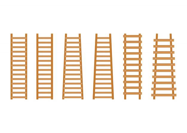 Escada de degraus em madeira