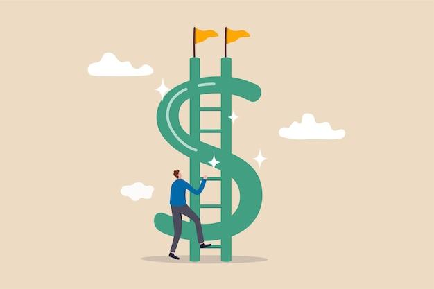 Escada de dinheiro para atingir o objetivo financeiro independente.