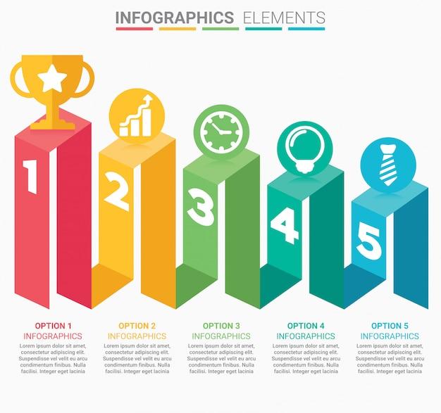 Escada de negócios infográfico com cinco etapas