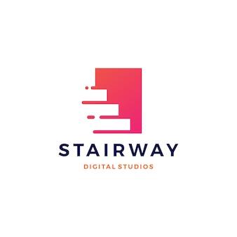 Escada digital tech upstair logo vector ícone