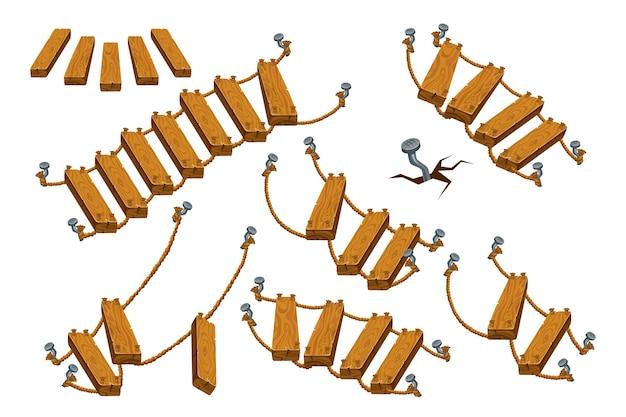 Escada e corda de madeira.