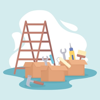 Escada e ferramentas
