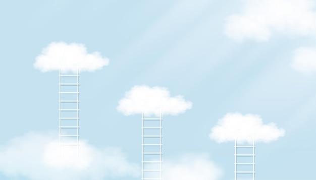 Escada e nuvem flutuando no céu azul