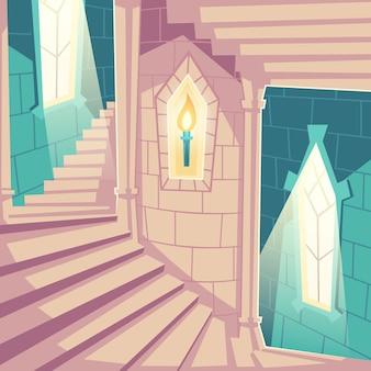 Escada em espiral nas escadas para cima do castelo no palácio