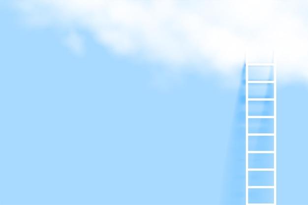 Escada mínima e fundo de nuvem realista