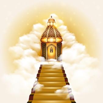 Escada para a ilustração de porta do céu