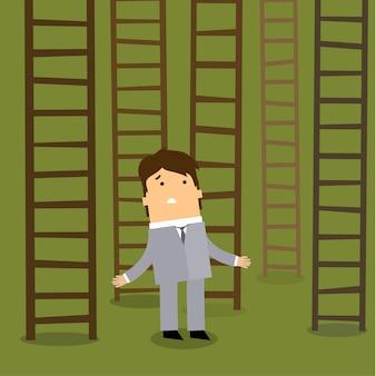 Escada para o sucesso. conceito de escolhas de negócios.