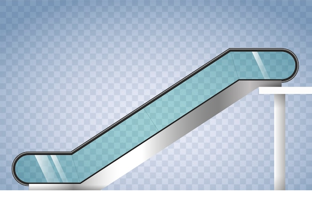 Escada rolante com vidro transparente