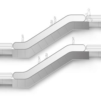 Escada rolante moderna com lugar para publicidade vista lateral isolada no branco