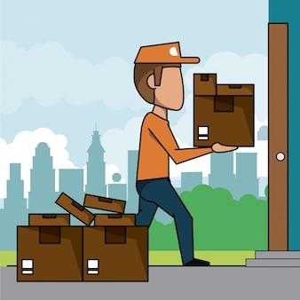 Escadaria cena paisagem da cidade de entrega rápida com pacotes
