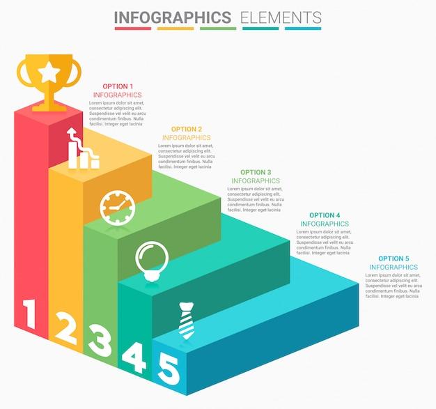 Escadaria de negócios de infográficos